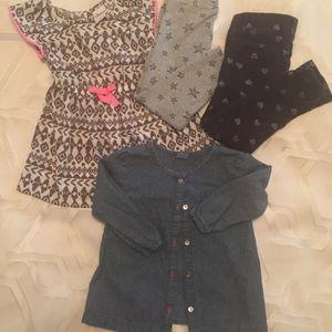 2T/24 Mo Lot Dress, 2 Pants & Denim Top